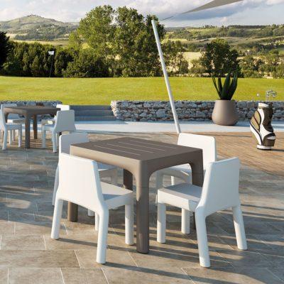 "Set ""Simple"" sedia e tavolo_arredo bar outdoor in polietilene_R.G.Manifatture"