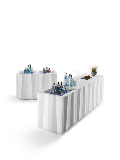 """Banco catering linea """"Frozen""""_polietilene_modulare_luminoso_con portaghiaccio_R.G.Manifatture_vendita online"""