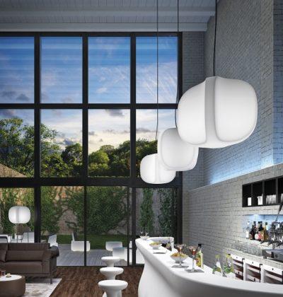 Set lampada Four_Arredo in polietilene e acciaio_R.G.Manifatture