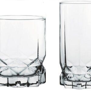 Bicchieri in vetro future tumbler alto e basso lavorati